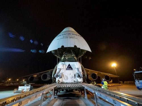 The European Service Module for NASA's Orion spacecraft is loaded on an Antonov airplane in Bremen, Germany. Credits: NASA