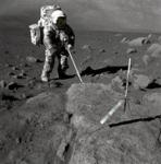 Lunex Honorary Member Jack Schmidt on the surface of the Moon. Credits: NASA.