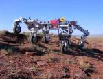 The ATHLETE rover climbing a hill. Credits: NASA