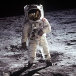 Buzz Aldrin walking on the Moon. Credits: NASA
